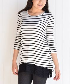 This Black & White Stripe Lace-Back Three-Quarter Sleeve Tunic is perfect! #zulilyfinds