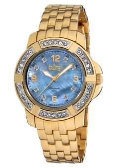 Price:$85.99 #watches Burgi BUR069YG, This Burgi ladies Swiss quartz watch is designed with beautiful crystal sections on the bezel. The mother of pearl dial and crystal accents complete this timepiece.