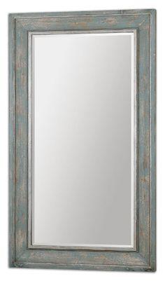 Uttermost 13852 Calvera 71 Inch Tall Transitional Wall Mirror - Heavily Distressed Light Blue - UTT-13852