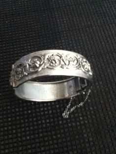 Floral Bangle Bracelet Silvertone Bold Statement by PlaidPanache, $20.00