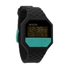 Nixon Unisex Rubber Re-Run Watch - Black/Teal £85.00 - watches, femme, vintage, marc jacobs, minimalist, cute watch *ad