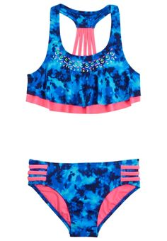 Shop Dye Effect Flounce Bikini Swimsuit and other trendy girls bikinis swimwear at Justice. Find the cutest girls swimwear to make a statement today. Best Swimwear, Trendy Swimwear, Cute Swimsuits, Bikini Swimwear, Swimsuits For Tweens, Summer Bathing Suits, Girls Bathing Suits, Justice Swimsuits, Kids Fashion