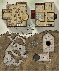 The Black Goat Floors + basement & secret Temple Fantasy Cartography by Sean Macdonald Fantasy Map, Fantasy City, Medieval Fantasy, Rpg Pathfinder, Rpg Map, Map Layout, Dungeon Maps, Nocturne, Building Map