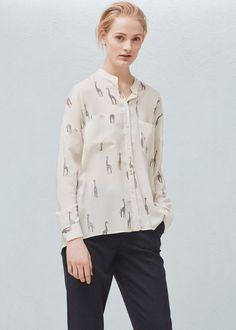 Lejąca wzorzysta bluzka - Koszule dla Kobieta   MANGO Polska