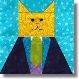 Sharp Dressed Cat Free Quilt Block Pattern