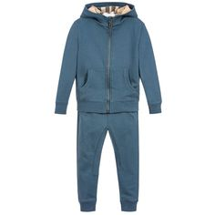 This boys 'Pearcy' tracksuit from Burberry, comes in pewter blue sweatshirt jersey. The top is hooded and lined with beige house check, with a zip at the front, useful pouch pockets and logo embroidery at the hem. The matching joggers have a drawstring waistband, zipped side pockets and ribbed ankle cuffs.