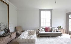 When homeowners invite guests and company into their home typically the first thing that visitors see is the living room, or family room, of the house. Unless there is a foyer before the living roo… Living Room Inspiration, Interior Inspiration, Living At Home, Living Spaces, Cozy Couch, Tufted Couch, Sofa, Cosy Room, White Couches