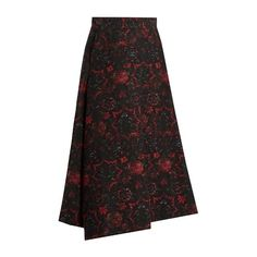 Y S By Yohji Yamamoto Floral Jacquard A Line Skirt ($654) ❤ liked on Polyvore featuring skirts, floral printed skirt, floral print a-line skirt, floral print skirt, floral a line skirt and floral knee length skirt