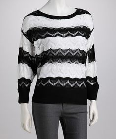 Take a look at this Black Stripe Crocheted Sweater by High Secret on #zulily today! $32.99, regular 79.00