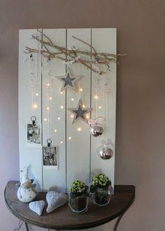 rustic christmas lighted display board