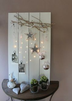rustic christmas lighted display board
