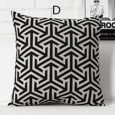 stripe linen black and white decorative pillows geometric abstract plaid throw cushions - Black And White Decorative Pillows