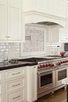 Great Striking Classic House Design With Modern Interior: Awesome Kitchen Details  Tile Backsplash Port Chelsea House