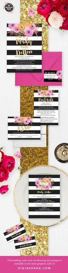 """Gorgeous black and white stripe """"Mady"""" wedding invitations available with coordinating pieces like RSVP, Details enclosure card, and day-of wedding stationery including wedding menus, place cards, wedding programs and much more.  Pink and orange watercolor details, gold glitter brush lettering.  Trend-setting modern wedding suite available at digibuddha.com"""