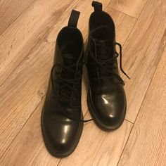 Dr. Martens Shoes | Black Emmeline Boots By Dr Marten | Poshmark Witch Shoes, Thick Socks, Lace Up Boots, Dr. Martens, Black Shoes, Running, How To Wear, Lace Up Ankle Boots, Black Loafers