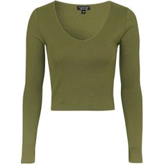 TOPSHOP V-Neck Ribbed Top ($20) ❤ liked on Polyvore featuring tops, shirts, crop tops, khaki, ribbed crop top, cotton shirts, crop top, green top and khaki shirt