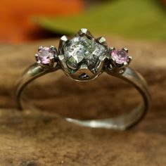 Gray rough diamond ring with pink sapphire side set gems in prongs setting with sterling silver band Check more at
