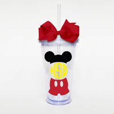 Mickey Mouse Monogram Acrylic Tumbler by SweetSipsters on Etsy Acrylic Tumblers, Plastic Tumblers, Disney Cups, Personalized Cups, Mickey Mouse, Mason Jars, Etsy Seller, Monogram, Crafty