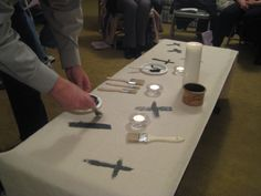 During Ash Wednesday worship, we invited people to paint a cross on the tablecloth and placed it on the communion table in the sanctuary. Ash Wednesday Prayer, Christian Lent, Maundy Thursday, Prayer Stations, Prayer Garden, Lenten Season, Worship Service, Church Banners, Palm Sunday