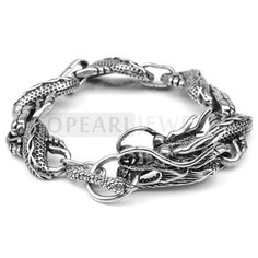 Topearl Jewelry Stunning 316 Stainless Steel Dragon Link Bracelet for Men MEB200