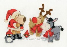 Boofle, Roofle, Rosy, Purly and Dinky at Christmas Cross Stitch Kit by DMC Dmc Cross Stitch Kits, Cute Cross Stitch, Boofle Bear, Craft Materials, Christmas Cross, Holiday Crafts, Kids Rugs, Crafty, Quilts