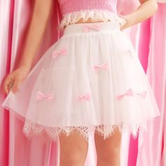 Sweet pink bow white lace skirt SE10224