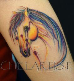 Copyright Chelarist. Watercolour horse tattoo. Get in touch if you'd like your own original watercolour creature xx