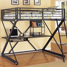 Powell Furniture Z-Bedroom Full Size Study Loft Bunk Bed, offered by Powell Furniture, browse our great selection of Bunk Beds Loft Bed Frame, Loft Bunk Beds, Modern Bunk Beds, Metal Bunk Beds, Kids Bunk Beds, Bed Frames, Bunk Bed With Desk, Bunk Beds With Stairs, Desk Bed