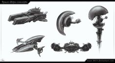 Space Ships concepts by Azot2016 on DeviantArt
