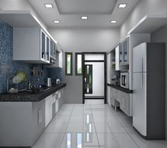 The kitchen with monochrome color appearance . Two side kitchen platform having black granite stone surface . Under counter storage with dual color laminate work. The over head cabinets with glass shutters . The dado wall with mosaic tile cladding work. Glass Backsplash Kitchen, Modern Kitchen Cabinets, Granite Kitchen, Kitchen Cabinet Design, Modern Kitchen Design, Kitchen Tiles, Interior Design Kitchen, Kitchen Decor, Backsplash Tile
