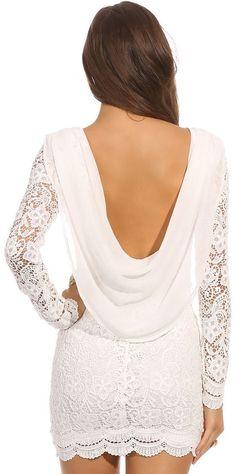 Lace Draped Back Dress-honeymoon dress