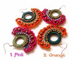 Hippie earring Handmade Macrame Dangle Earrings by AbourShop
