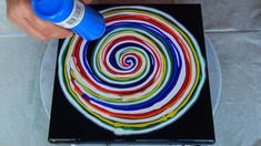 (485) SPIRAL reverse flower dip ~ RAINBOW WEEK ~ Acrylic pour painting