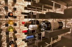 Kessick's new 'Vinium Series' wine racking system. A collaboration of KWC and CRWC. Contemporary Wine Racks, Wine Cellar Design, Racking System, Wine Storage, Liquor, Wine Rooms, Architecture, Wine Cellars, Kitchen Products
