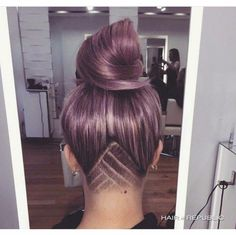 Undercut pastel pink triangle hair