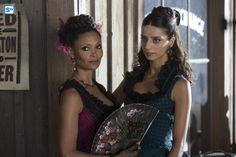 Thandie_Newton_as_Maeve_Millay,_Angela_Sarafyan_as_Clementine_Pennyfeath...