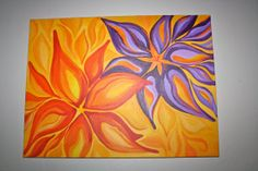 Fun Flower Painting by katescolorfulcrafts on Etsy, $75.00