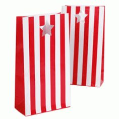 Paper Eskimo party bags in red candy cane stripes Paper Party Bags, Party Favor Bags, Birthday Party Favors, Birthday Ideas, Circus Birthday, Circus Theme, Paper Bags, Gift Bags, 3rd Birthday