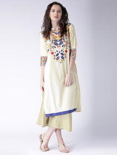 Buy Moda Rapido Off White Printed Kurta - Kurtas for Women | Myntra