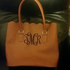 FINAL PRICE🎉BEAUTIFUL INT BAG! BRAND NEW💕♥️💕 Are these your initials? If so, you are in luck! I received 2 initial bags for gifts! Exactly the same! Imagine that! Never carried and brown quality man made material! Initials are in black. Large Tote with scalloped edges at top!  Tote is open at the top...SIMPLY BEAUTIFUL....no tags but bag is BRAND NEW Boutique Bags Totes