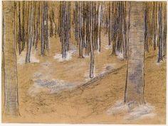 Piet Mondriaan Bos 1899 hoogte 30,6 cm breedte 40,5 cm potlood, kleurpotlood, zwart en wit krijt op papier