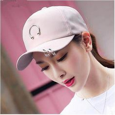 Fashion baseball cap with metal ring for women UV protection sun hat