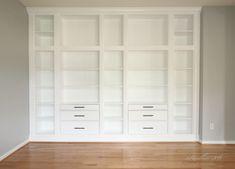 DIY BUILT-IN BOOKCASE REVEAL (AN IKEA HACK) – Studio 36 Interiors Ikea Bookshelf Hack, Narrow Bookshelf, Built In Bookcase, Bookshelf Ideas, Bookshelf Design, Ikea Built In, Built In Storage, Ikea Storage, Record Storage