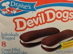Drake's Devil Dogs Pack of 8 Chocolate Cake w Cream Filling Free Shipping | eBay