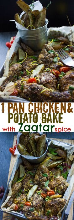 One Pan Chicken Potato Bake With Zaatar Recipe is pure grandma style comfort with a unique blend of flavor--Super delicious and easy for busy days! www.twopurplefigs.com