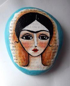Frida Mixed Media Painted Rock by mariamercedesstudio on Etsy https://www.etsy.com/listing/125287447/frida-mixed-media-painted-rock