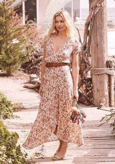 Wild Rose Maxi Wrap Dress Natural | Auguste The Label