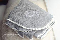 Pom Trim Swaddle Blanket for Babies Pom Pom by SweetMamaMakes