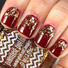 Dark Red & Gold Glitter Nails