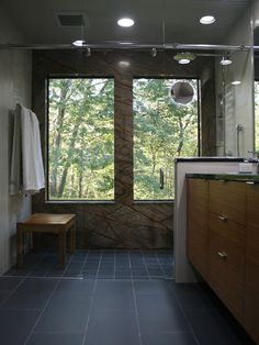 """""""Do you like the curb-less shower?""""  """"floors tiles same as shower but diff size""""  """"choosing a curbless shower and a frameless shower enclosure, every step into this bath feels like a step outside."""""""